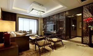 中式风格三居室客厅镂空隔断设计装修效果图