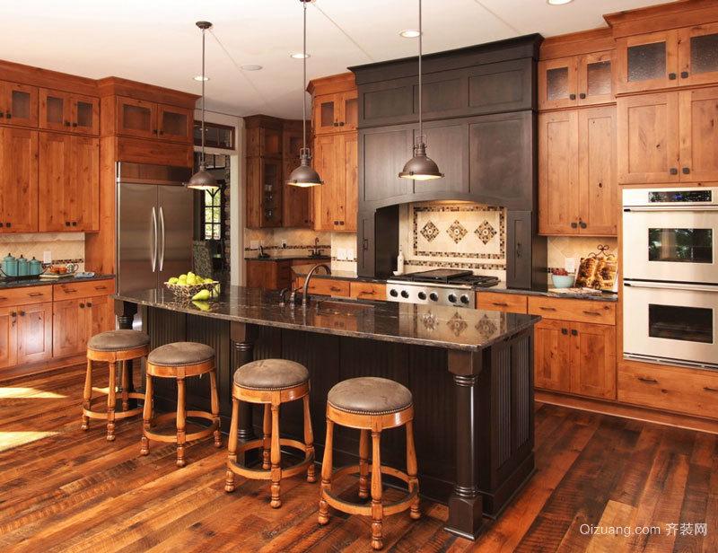 美式乡村风格别墅室内开放式厨房吧台装修效果图