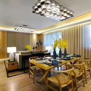 中式风格大户型室内客厅餐厅一体装修效果图