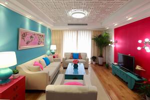 120平米中西混搭风格多彩三室两厅室内装修效果图赏析