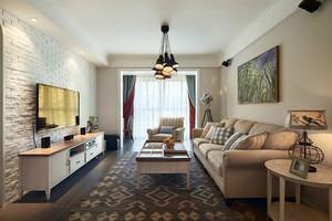 简欧风格两居室客厅电视背景墙装修效果图赏析