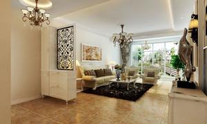 简欧风格两居室室内客厅隔断设计装修效果图