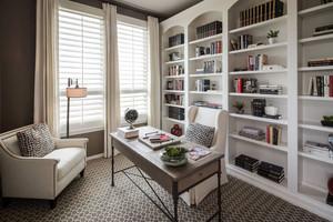 12平米简欧风格别墅室内纯白书房装修效果图