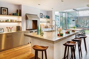 美式风格大户型室内开放式厨房吧台装修效果图赏析