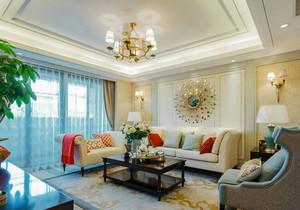 美式风格三居室精致客厅沙发背景墙装修效果图