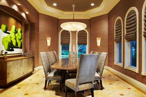 美式风格精致奢华别墅室内餐厅吊顶装修效果图赏析