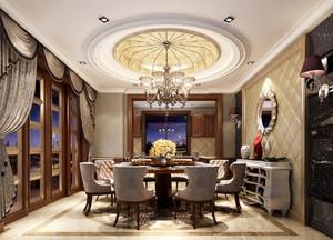 古典欧式风格别墅室内精致餐厅圆形吊顶装修效果图