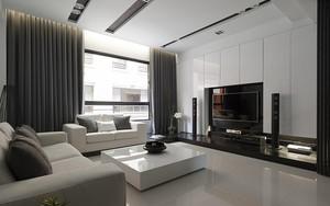 65平米现代风格冷色调一居室小户型装修效果图