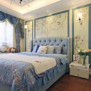 混搭风格清新卧室背景墙装修效果图