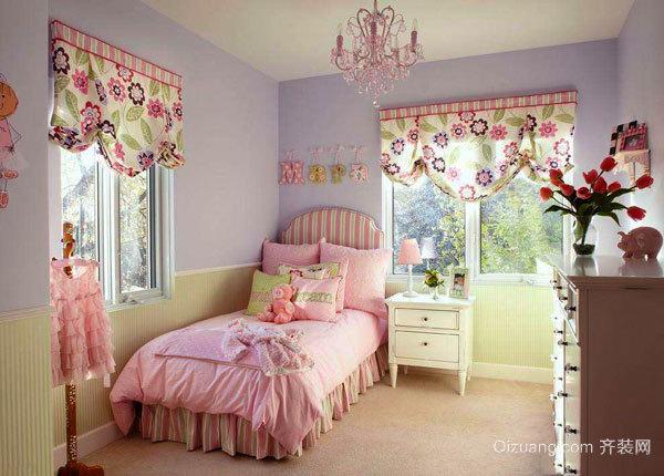 简欧风格温馨甜美粉色儿童房装修效果图