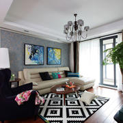 美式混搭风格三居室客厅吊顶装修效果图赏析