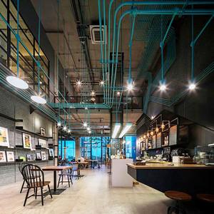 116平米后现代工业风格咖啡厅装修效果图赏析
