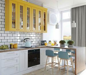 北欧风格两居室室内开放式厨房吧台装修效果图