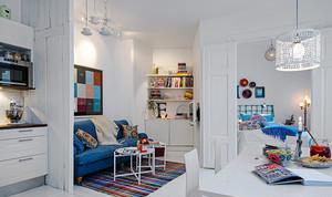 61平米北欧风格纯白自然单身公寓装修效果图案例