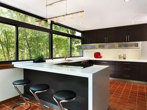 后现代风格别墅室内开放式厨房吧台装修效果图赏析