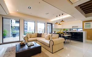135平米现代风格精装三室两厅室内装修效果图案例