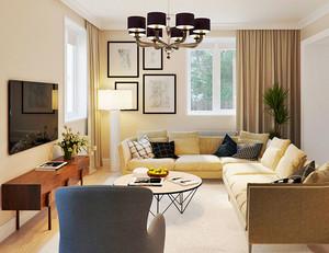 现代风格两居室精美客厅吊灯装修效果图