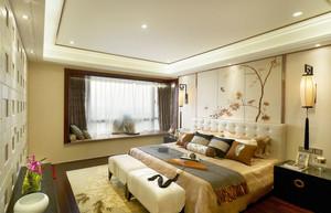 中式风格简约雅韵卧室飘窗设计装修效果图