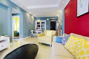 90平米时尚色彩混搭风格室内装修效果图案例