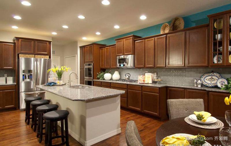 美式风格大户型室内精致开放式厨房吧台装修效果图图片