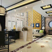 中式风格简约客厅餐厅隔断设计装修效果图赏析