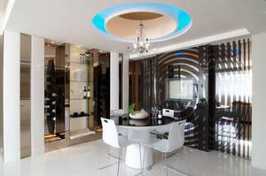 现代风格精致大户型餐厅圆形吊顶设计装修效果图