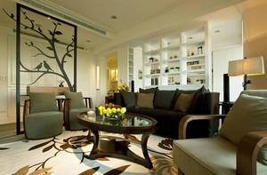 现代风格两居室室内客厅玻璃隔断设计装修效果图