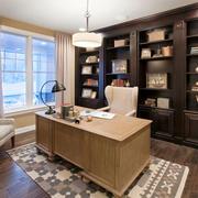 16平米美式风格别墅室内书房设计装修效果图
