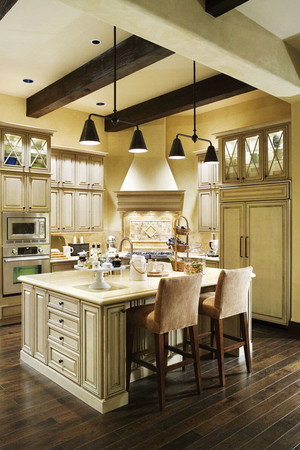 欧式风格简约别墅开放式厨房装修效果图欣赏