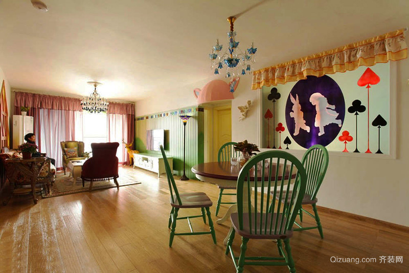 154平米美式田园风格四室两厅室内装修效果图赏析