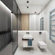 12平米现代简约风格卫生间隔断设计装修效果图