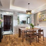 新中式风格大户型室内餐厅吊灯装修效果图