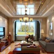 中式风格低调奢华客厅吊顶装修效果图赏析