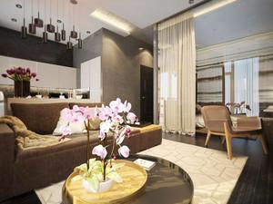58平米后现代风格咖啡色单身公寓装修效果图案例