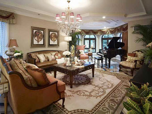 280平米仿古美式风格别墅室内装修效果图案例