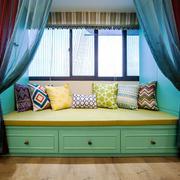 美式风格室内精美飘窗窗帘设计装修效果图