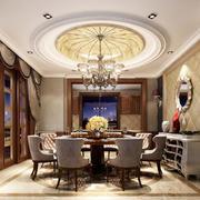 古典欧式风格奢华别墅室内餐厅圆形吊顶装修效果图