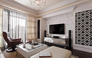 126平米浅色新古典主义风格三室两厅室内装修效果图
