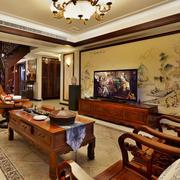 古典中式风格复式楼室内客厅电视背景墙装修效果图