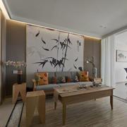 简约中式风格客厅背景墙装修效果图赏析