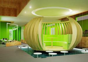 300平米现代简约风格趣味办公室装修效果图