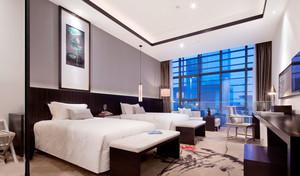 44平米中式风格宾馆标准间装修效果图