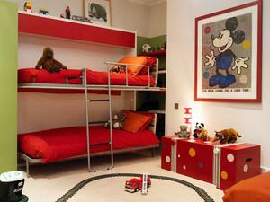 现代简约风格双层床儿童房设计装修效果图案例