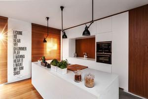 后现代风格精致纯白开放式厨房吧台装修效果图赏析