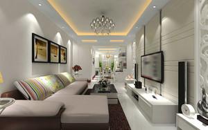 简欧风格简约温馨客厅吊顶设计装修效果图