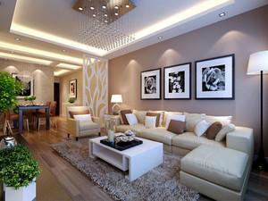 简欧风格浅色精美客厅沙发背景墙装修效果图