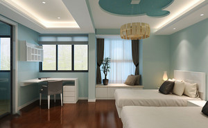 12平米现代简约风格卧室飘窗设计装修效果图
