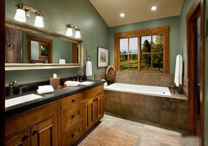 美式乡村风格别墅室内卫生间浴室柜装修效果图赏析