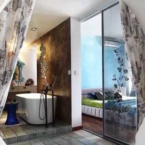 现代风格精致主卧室卫生间隔断设计装修效果图
