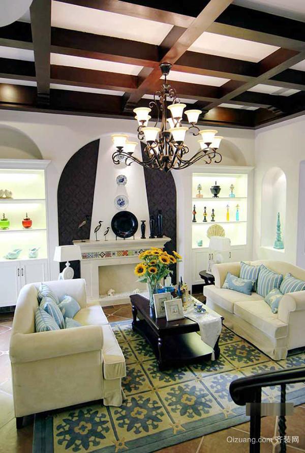 190平米地中海混搭风格复式楼室内装修效果图赏析